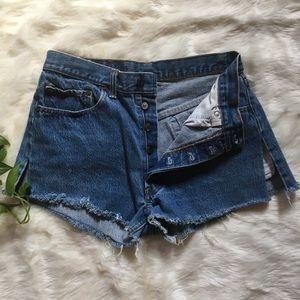 Vintage Levi's 501 Cut Frayed Jean shorts