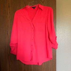 Express neon coral button down