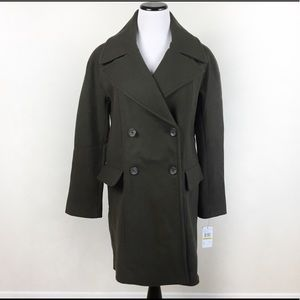 MAKEANOFFER🔥VINCE CAMUTO OLIVE WOOL BLEND PEACOAT