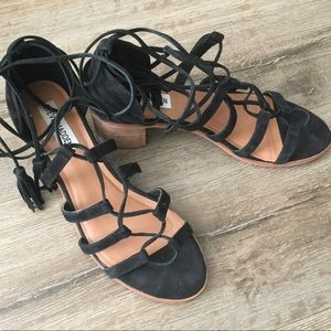 Steve Madden Leather suede laced up heels sandals