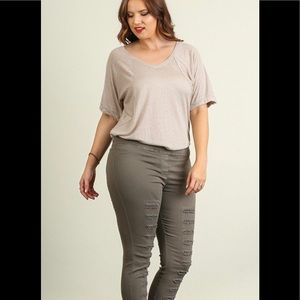 Pants - UMGEE OLIVE DISTRESSED PANTS WITH SLITS
