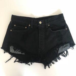 Levi Black Frayed Cutoff Shorts