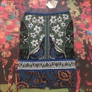 Moth Bordered Jacquard Sweater Skirt