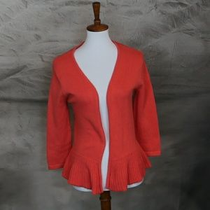 Jeanne Pierre 100% cotton orange peplum cardigan S