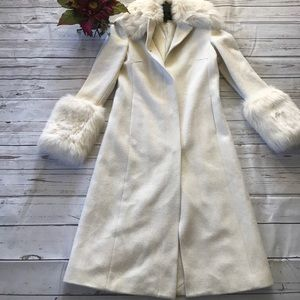 Express lined wool ivory pea coat