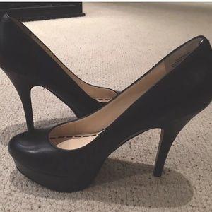 Enzo Angiolini Black Leather Platform Stilettos