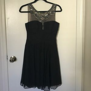 BCBGMAXAZRIA black silk dress with embellishments