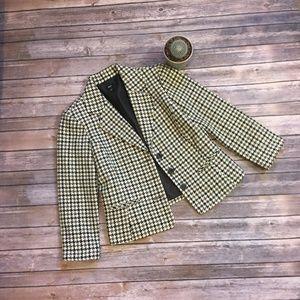 Houndstooth fitted three-button blazer