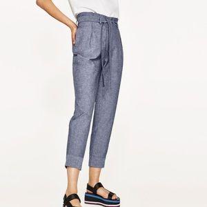 Zara High waisted chambray trousers