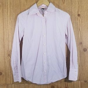 J.CREW  pink striped button career blouse xs