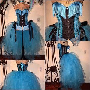 Aqua Blue Black Crystal Underbust Corset Bustle