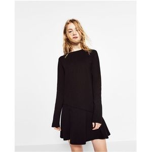 ZARA Ruffle Hem Long Sleeve Mini Dress Black EUC