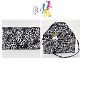 Handbags - Black & White Leopard Print Clutch