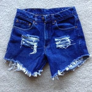 Custom distressed Levi shorts