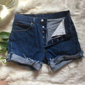 Levi's 501 Jean Shorts Dark Blue Rolled up Frayed