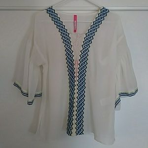 NWT Plenty by Tracy Reese flutter peasant top