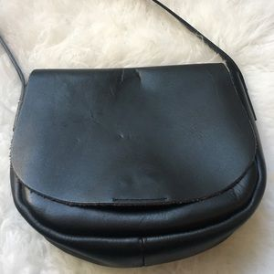 Top shop black leather crossbody bag