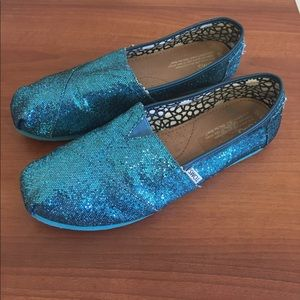 Toms Blue Teal Turquoise Glitter Shoes W10
