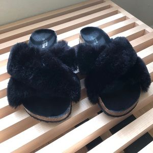 New Crossed Faux Fur Slides currently in UO stores