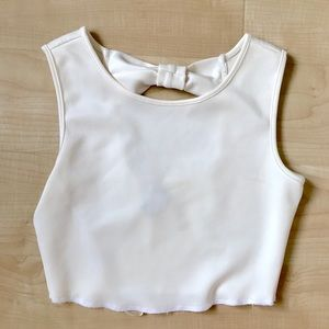 Forever 21 white crop top with bow behind