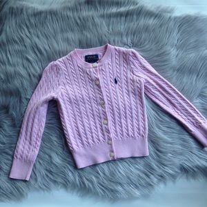 Polo Ralph Lauren pink cable knit cardigan sweater