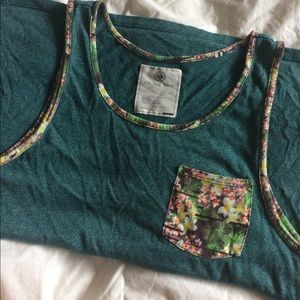 Turquoise tank with floral trim + pocket