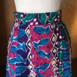 Vintage Fish Novelty Print Maxi Skirt