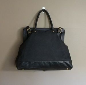 Rag & Bone Doctor's Bag Black Canvas And Leather