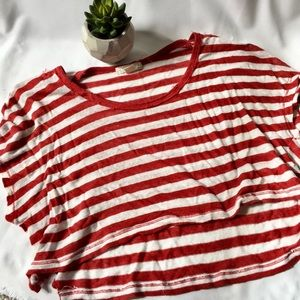 Cute high low red white stripes crop top