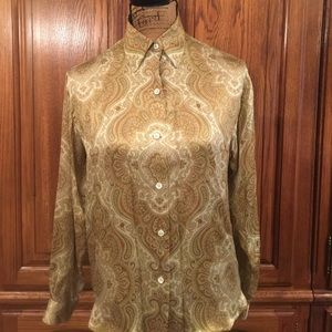 Vintage Burberrys Paisley Silk Blouse