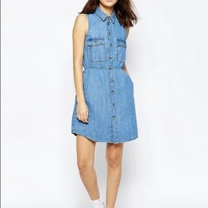 ASOS Sleeveless Waisted Denim Shirt Dress