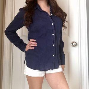 GAP linen blue button down shirt Small