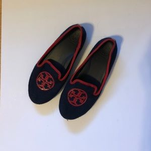 Authentic Tory Burch Blue Logo Flats