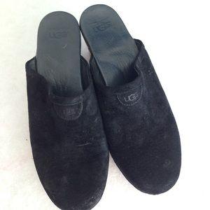 UGG Wooden Black Suede Clogs