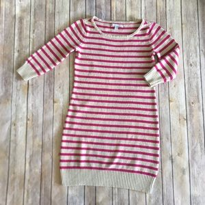Old Navy | Long Sleeve Pink Striped Fitted Dress M