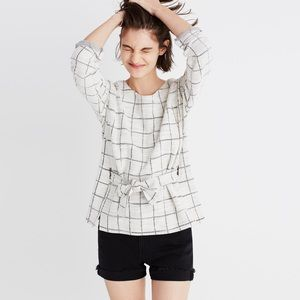 BRAND NEW WITH TAGS MADEWELL CHECKED TIE FRONT TOP
