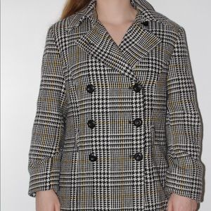 Black & White houndstooth coat with yellow stripes