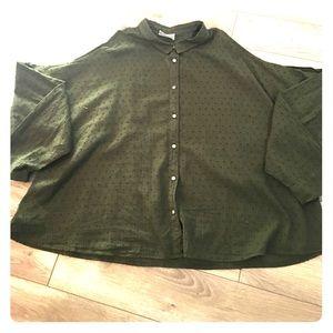 LOU & GREY shoulder cut out button up shirt
