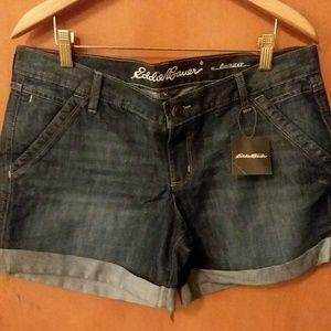 Eddie Bauer Boyfriend Denim Shorts Sz10P NWT $50