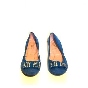 Vince Camuto Blue Textured Flats with Studded Bow