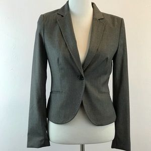 H&M Blazer Jacket Gray Size 6 striped lining.