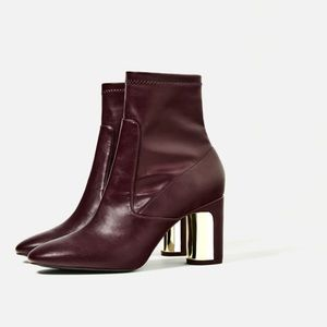 Zara, high heeled detail ankle boots, burgundy, 8