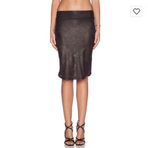 Monrow Perforated Leather Pencil Skirt