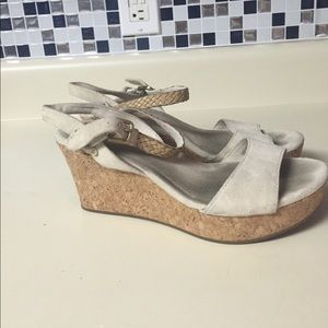 Ugg beige suede wedges size 8.5 sandals