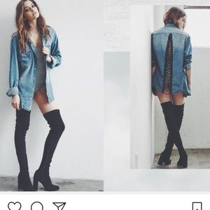 Carmar Denim Shirt with lace up detailing