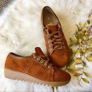 vintage 70s burnt orange suede sneakers