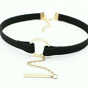 Small Circle Velvet Choker with Chain