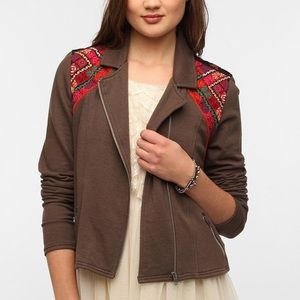 URBAN OUTFITTERS Ecote Brocade Panel Moto Jacket