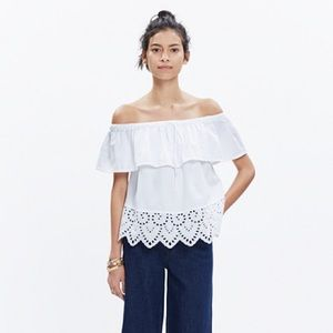 MADEWELL OFF THE SHOULDER WHITE EYELET TOP