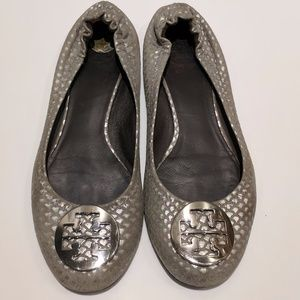 Authentic Tory Burch Logo Silver Flats